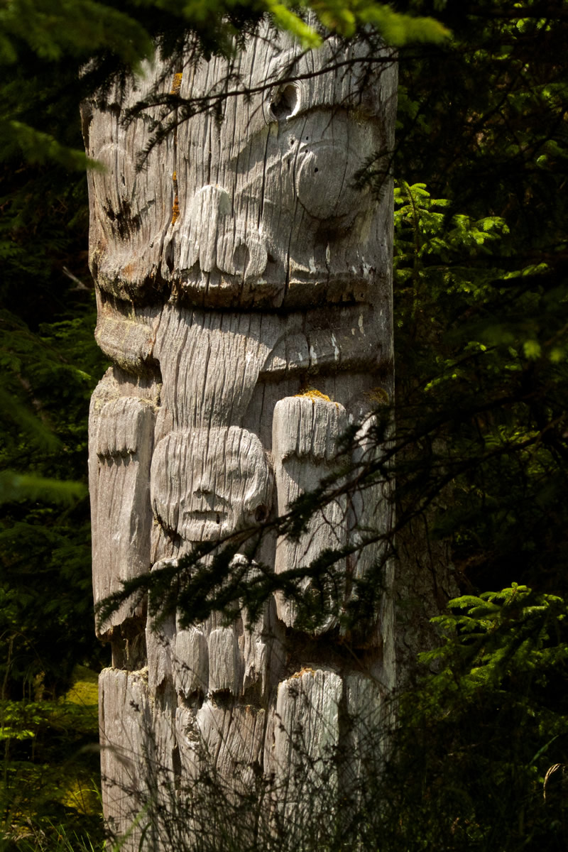 Mortuary Pole at Haida Heritage Site of Sgang Gwaay