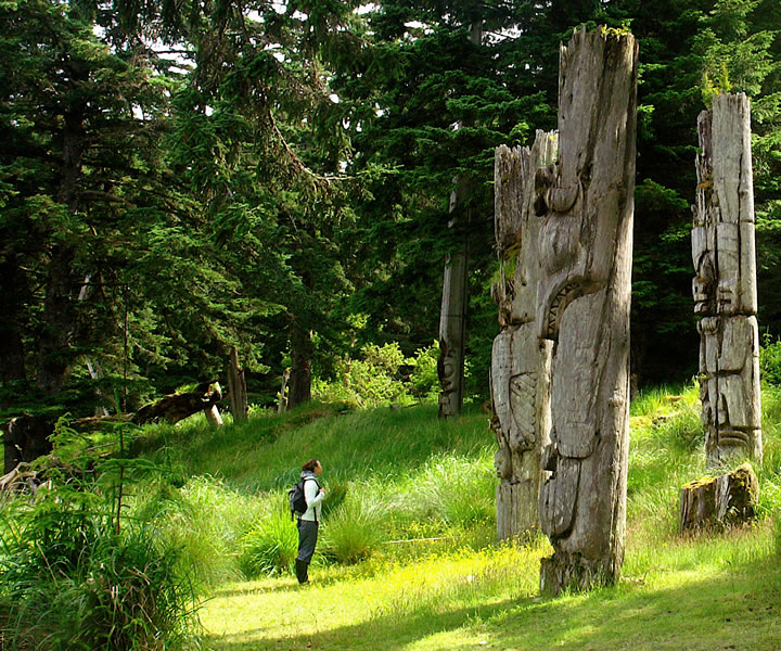 Mortuary poles at Haida Heritage Site