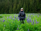 Sandi in a sea of lupines